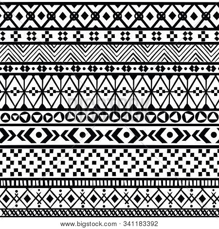 Black Ethnic Borders. Seamless Ornaments Mexican, American And Aztec Geometric Patterns, Black And W
