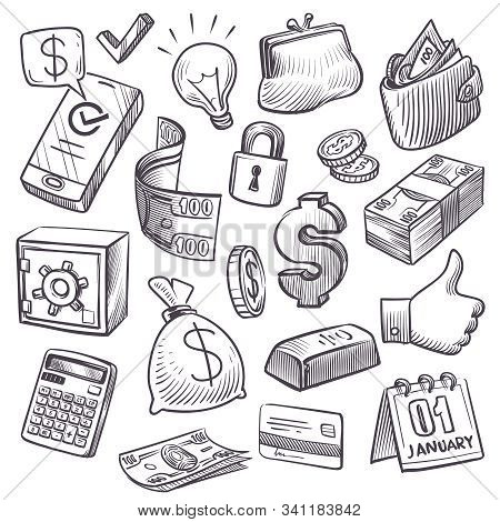 Money And Finance Sketch. Gold Bars, Treasure Chest And Bank Safe, Dollars Sack And Falling Coins, B