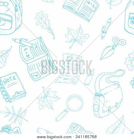Seamless Pattern On A School Theme. Vector Illustration Background On A School Theme. Hand Drawn Pen