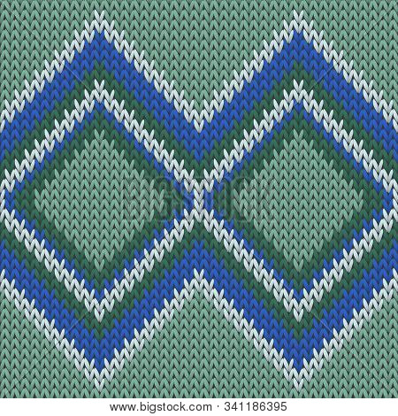 Fairisle Rhombus Argyle Knitted Texture Geometric Vector Seamless. Carpet Knit Tricot  Fabric Print.
