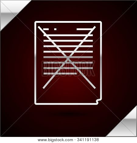 Silver Line Exam Paper With Incorrect Answers Survey Icon Isolated On Dark Red Background. Bad Mark