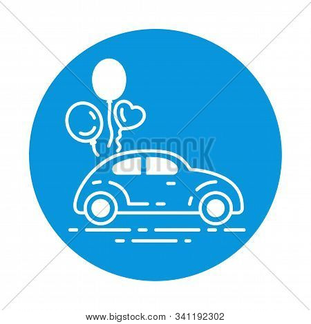 Just Married Car Color Line Icon. Cabriolet With Balloons. Sign For Web Page, Mobile App, Banner. Pi