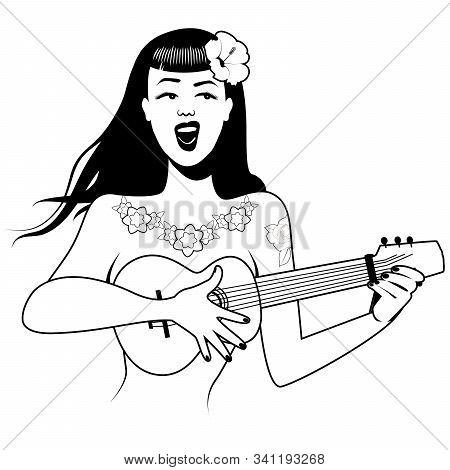 Sexy And Tattooed Pinup Girl Singing And Playing Ukelele. Cartoon Retro Style Isolated On White Back