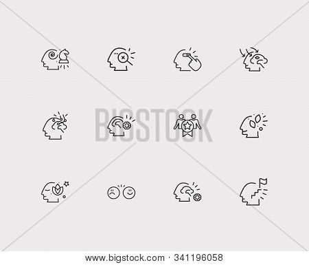Psychology Icons Set. Loyalty And Psychology Icons With Ambitious Person, Strategy Thinking And Ment