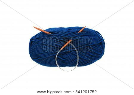 Yarn Skein For Hand Knitting And Crochet On White Background Isolated. Ball Of Soft Wool With Needle