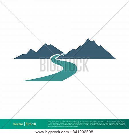 Mountain And Creek Vector Icon Logo Template Illustration Design. Vector Eps 10.