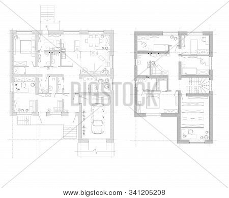 Disposition Of The House. An Example Of The Arrangement Of Furniture. Plan Two-storey House. Vector.