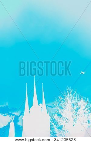 Silhouettes Of Famous Cathedral In Erfurt, Germany. Blue Aqua Color Turquoise And White Colors