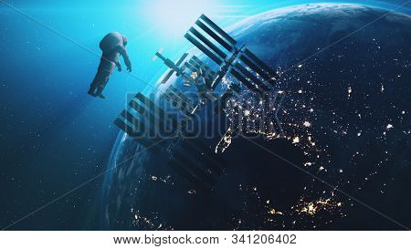 ISS astronaut in outer cosmos Earth background. International Space Station modul fly to spaceman against realistic planet. Sun Shine. 3d render animation. Elements of this media furnished by NASA