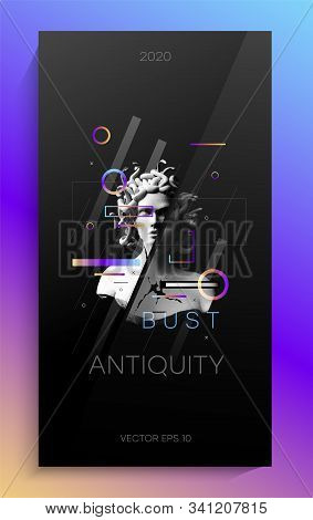 Creative Art Poster With Antique Bust. The Design Consists Of An Antique Bust Of The Gorgon Medusa,