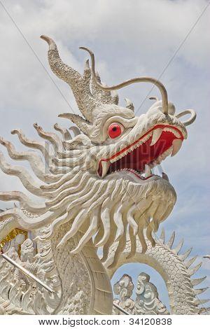 Molded Dragon White Figure ,