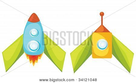 Set of vector cartoon rockets.