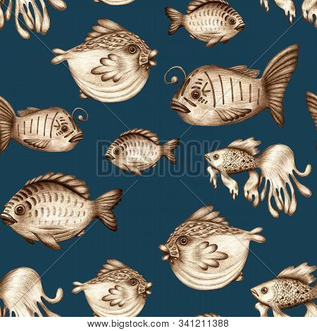 Magic Fish Pencil Drawn Seamless Pattern. Marine Inhabitants Underwater. Fabulous Print For Textiles