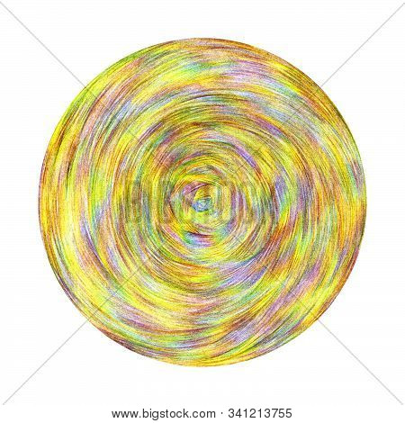 The Texture Of The Hatching Of Multi-colored Pencils. Round Pattern Drawn On Paper By Hand.