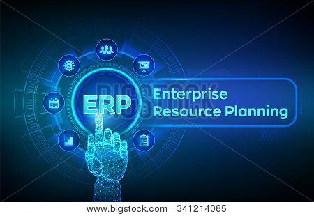 Erp. Enterprise Resource Planning Business And Modern Technology Concept On Virtual Screen. Corporat