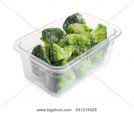 Frozen Broccoli Florets In Plastic Container Isolated On White. Vegetable Preservation