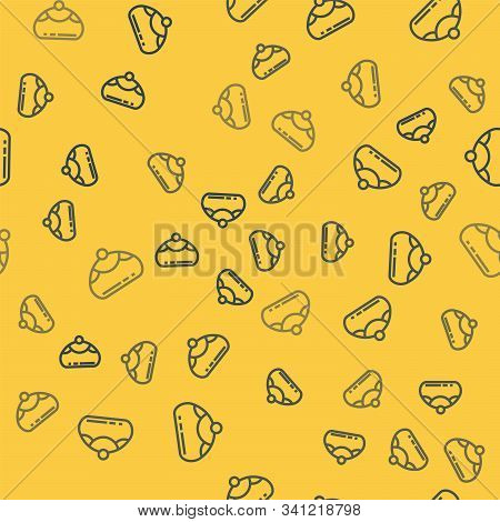 Blue Line Jewish Sweet Bakery Icon Isolated Seamless Pattern On Yellow Background. Hanukkah Sufganiy