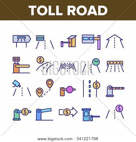 Toll Road Highway Collection Icons Set Vector Thin Line. Toll Expressway With Barrier Gate, Electron