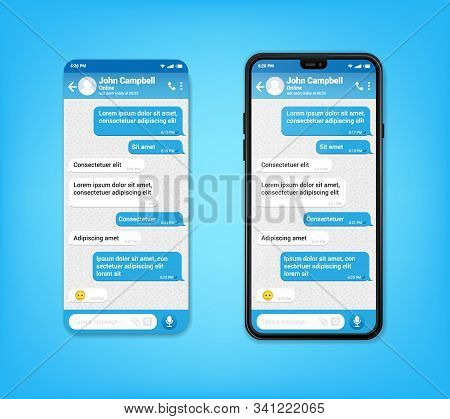 Ui Ux Phone Chat Blue Interface. Text Message Mobile Phone. Text Messaging Bubles In Mobile Applicat