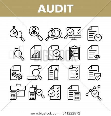 Audit Finance Report Collection Icons Set Vector Thin Line. Financial Audit Document File, Bag With