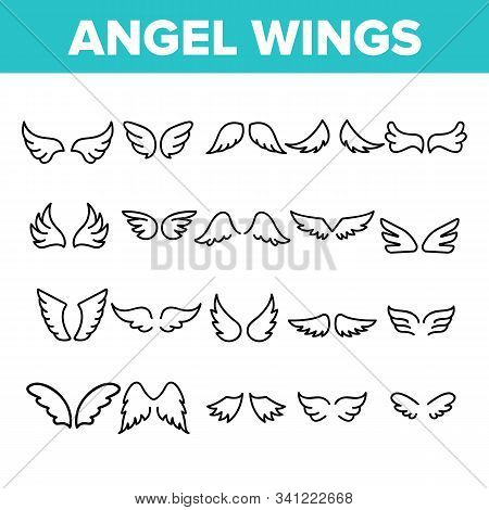 Angel Wings Flying Collection Icons Set Vector Thin Line. Decorative Stylized Feather Flapping Angel