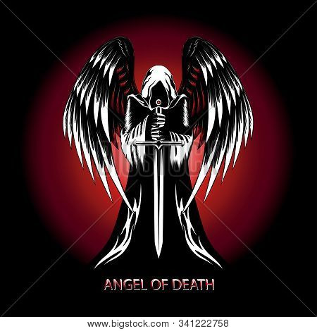Vector Image Of An Angel With A Sword On A Background Of Red Sun.