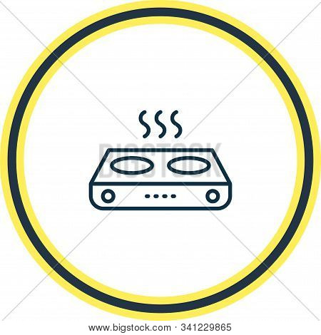 Vector Illustration Of Electric Gas Stove Icon Line. Beautiful Electric Utility Element Also Can Be