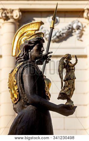 Bucharest, Romania - November 05, 2019: The Statue Of The Goddess Minerva, Made By Sculptor Mihai Ec