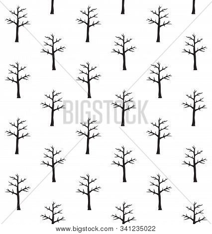 Vector Seamless Pattern Of Black Hand Drawn Doodle Sketch Naked Tree Silhouette Isolated On White Ba