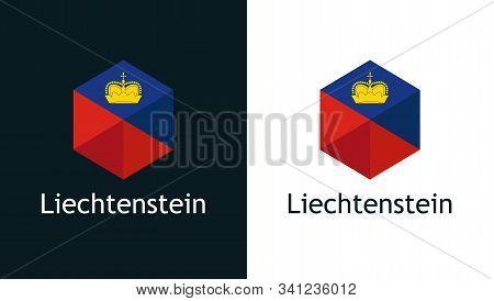 Icon Of Liechtenstein Flag On Black And White