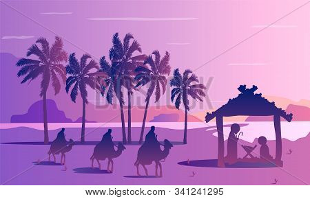Three Kings Jesus Mary Joseph And Palm Trees, Vector Art Illustration.