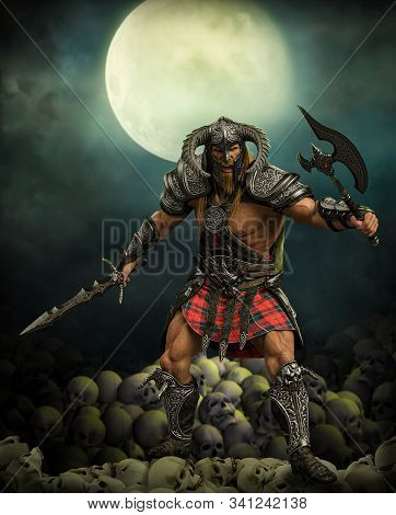 Terryfying Barbarian Fantasy Warrior In A Fighting Pose On A Pile Of Skulls Under A Full Moon, 3d Re