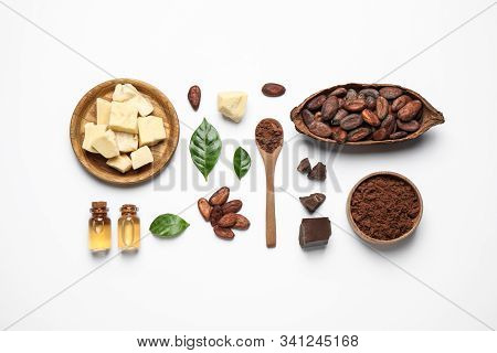Composition With Organic Cocoa Butter On White Background, Top View