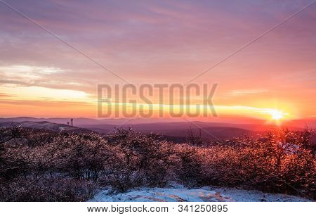 Vivid Stunning Sunset At High Point State Park, Top Of Nj, First Day Of Winter Covered In Ice And Sn