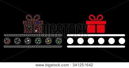 Glossy Mesh Baggage Transportation Conveyor Icon With Glow Effect. Abstract Illuminated Model Of Bag