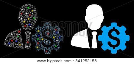 Flare Mesh Banker Options Gear Icon With Glow Effect. Abstract Illuminated Model Of Banker Options G