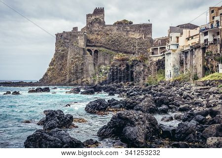 Aci Castello, Italy - May 4, 2019: Ruins Of Norman Castle In Aci Castello Town, Sicily
