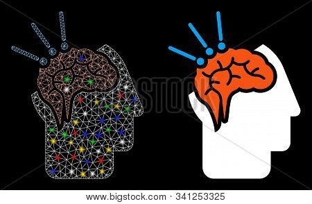 Bright Mesh Brain Surgery Icon With Glow Effect. Abstract Illuminated Model Of Brain Surgery. Shiny