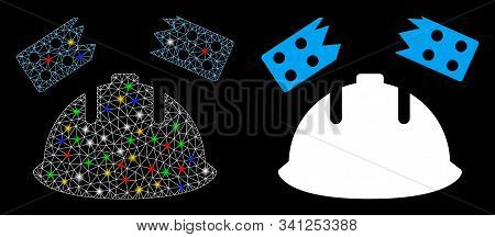 Glossy Mesh Brick Helmet Accident Icon With Sparkle Effect. Abstract Illuminated Model Of Brick Helm