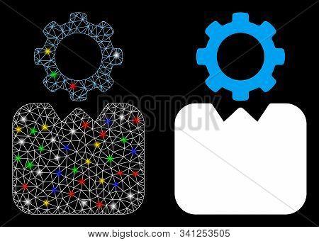 Bright Mesh Bureaucrat Icon With Glitter Effect. Abstract Illuminated Model Of Bureaucrat. Shiny Wir