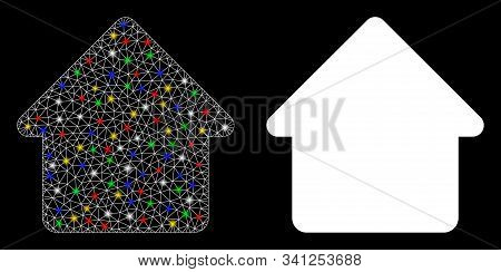 Flare Mesh Cabin Icon With Glitter Effect. Abstract Illuminated Model Of Cabin. Shiny Wire Carcass P