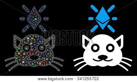 Glossy Mesh Crypto Kitty Icon With Glow Effect. Abstract Illuminated Model Of Crypto Kitty. Shiny Wi