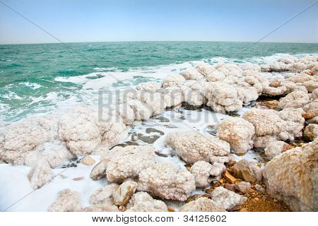 Salt accumulation on the Dead Sea shore in Ein Gedi oase. Israel
