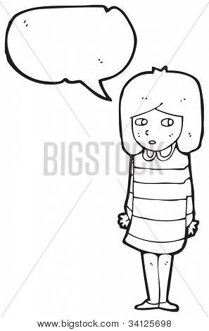 cartoon shy girl
