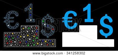 Glowing Mesh Euro Dollar Competition Icon With Glare Effect. Abstract Illuminated Model Of Euro Doll