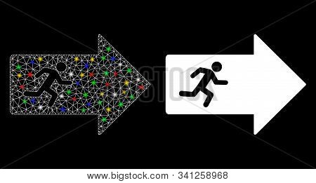 Glossy Mesh Exit Arrow Icon With Glare Effect. Abstract Illuminated Model Of Exit Arrow. Shiny Wire