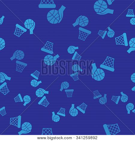 Blue Hand With Basketball Ball And Basket Icon Isolated Seamless Pattern On Blue Background. Ball In