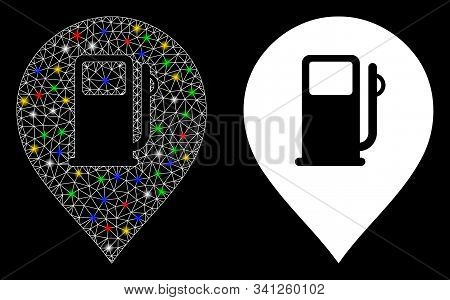 Flare Mesh Fuel Station Marker Icon With Sparkle Effect. Abstract Illuminated Model Of Fuel Station