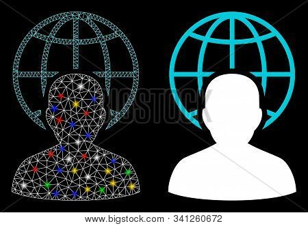Bright Mesh Global Governor Icon With Lightspot Effect. Abstract Illuminated Model Of Global Governo