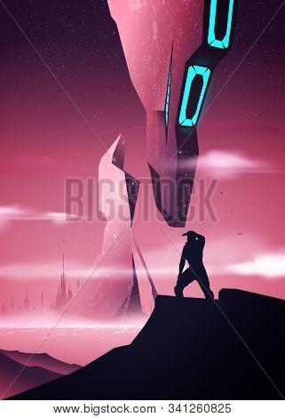 Futuristic Space Illustration In Vector